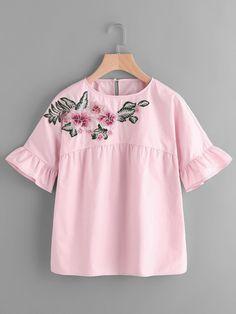 SheIn - SheIn Embroidered Flower Embellished Ruffle Sleeve Babydoll Top - AdoreWe.com