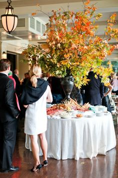 wow arrangement: large arrangement for the entry table / tall branches with autumn leaves