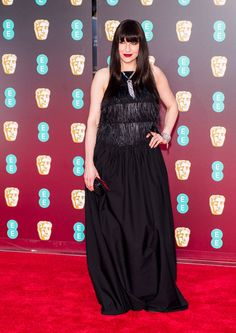 Katerina Perez on the BAFTA red carpet wearing Atelier Swarovski jewellery and Brunello Cucinelli dress on the red carpet