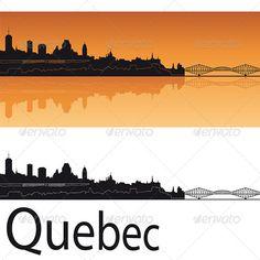 Quebec Skyline in Orange Background