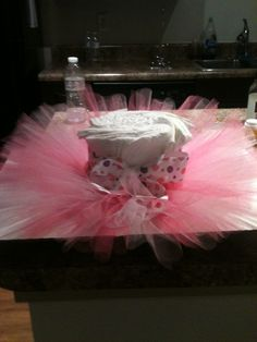 Girls baby shower diaper cake. andriacarneycreations.com