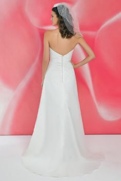 Style *I106 » Wedding Dresses » Ivory Collection » Pearl Bridals » Available Colours : Ivory, White » Shown with Pleating & Bow detail at bodice (back)