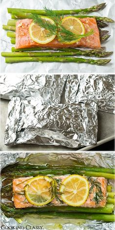 Baked Salmon and Asparagus in Foil - This is one of the easiest dinners ever, it tastes amazing, it's perfectly healthy and clean up is a breeze! Salmon Recipes, Fish Recipes, Seafood Recipes, Dinner Recipes, Dinner Ideas, Salmon And Asparagus, Baked Salmon, Salmon In Oven Foil, Healthy Recipes