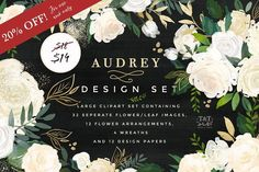 Watercolor Floral Design Set -Audrey by Twigs and Twine on @creativemarket