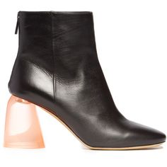 Ellery Sared plexi-heel leather ankle boots (£355) ❤ liked on Polyvore featuring shoes, boots, ankle booties, leather booties, black leather ankle booties, leather ankle booties, black bootie and short leather boots