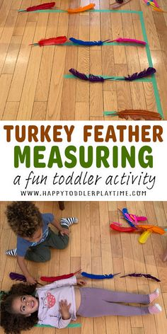 Turkey Feather Measuring Activity - HAPPY TODDLER PLAYTIME Thanksgiving Activities For Kids, Fun Activities For Toddlers, Educational Activities For Kids, Measurement Activities, Do A Dot, School Birthday, Homeschool Math, Fun Math, Kids Education