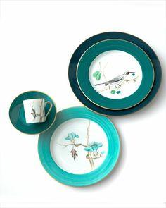 INTO THE WILD | Marie Daâge's new patterns | Fleurs d'Orient and Oiseaux d'Orient | Floral dessert plate, espresso cup and saucer set | Elle Decor