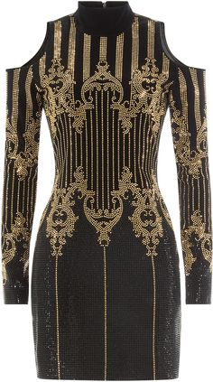 Balmain Embellished Dress with Cut-Out Shoulders
