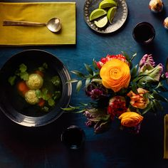 Matzo Balls Soup with Cardamom, Turmeric, and Lime / Photo by Chelsea Kyle, Prop Styling by Alex Brannian, Food Styling by Anna Hampton Lime Recipes, Soup Recipes, Cooking Recipes, Passover Recipes, Jewish Recipes, Passover Meal, Korma, Biryani, Soups