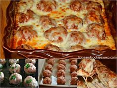 Meatballs are great on their own, but they're better with pasta or in a bowl of soup. Or in this cheesy casserole-style dish called cheesy baked meatballs. Casserole Recipes, Meat Recipes, Low Carb Recipes, Cooking Recipes, Meatball Recipes, Meatball Meals, Meatball Dish, Meatball Sliders, Recipes