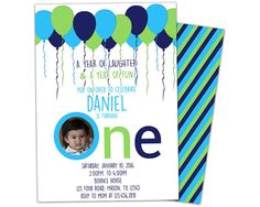 Get the cute party balloons 1st birthday Invitations you've been looking for, for your boys 1s Birthday party, featuring aqua teal navy blue and lime green balloons and your childs photo in the O in ONE. This 1st Birthday invitation is professionally printed on 100lb gloss cover on both sides, with matching stripes on the backside. Each invitation is 4x6 or 5x7, produced quickly and with high quality for your 1st birthday party. See below for more custom details! ✔Select how many you need…