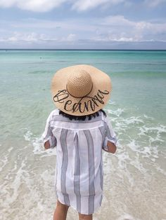 Make Your Own Hand lettered Sun Hat Men's Hats, Sun Hats, Straw Hats, American Girl, White Sharpie, Santa Rosa Beach, Diy Hat, Beach Trip, Outfit