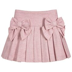 Pink Pleated Cotton Skirt for Girl by Balloon Chic. Discover more beautiful designer Skirts for kids online