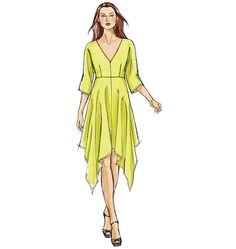 Vogue V8894 Sewing Pattern   Misses' Handkerchief Dress   3/4 sleeves   (ABCD)   [wishlist]