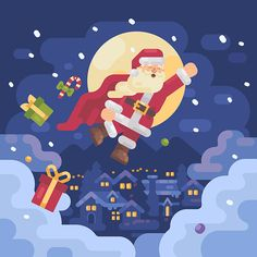Set of Christmas illustrations about work and adventures of Santa Claus and his friends     #flat #design #flatdesign #vector #illustration #character #characterdesign #christmas #xmas #newyear #2018 #holiday #winter #santaclaus #santa #present #child #fun #greetingcards #celebration #graphicdesign #alpinevillage #cartoon #forsale #superhero #superman #village #adobeillustrator #vectorart