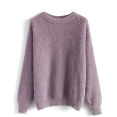 Chicwish Comfy and Fluffy Jumper in Violet ($53) ❤ liked on Polyvore featuring tops, sweaters, jumpers, shirts, purple, round neck sweater, shirt sweater, violet shirt, purple shirt and purple jumper