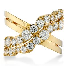 Lorelei Cross Over Ring (available in 18k Rose, White and Yellow Gold) #diamonds #LoreleiCollection   heartsonfire.com