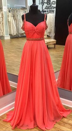 beaded straps long chiffon coral prom dresses