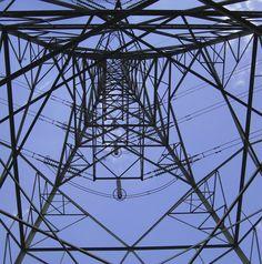 steelwork, pylon, looking upwards