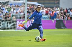 Hope Solo warming up before the game against Ireland, May 10, 2015. (U.S. Soccer)