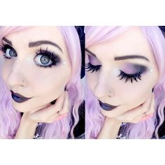 Pastel Goth Queen ❤ liked on Polyvore featuring makeup, hair, pastel goth, pictures and women