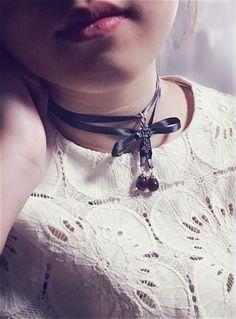 Black Ribbon Cross Choker, Wrap Necklace, Ribbon Choker, Chic, Cute, Classy, Ribbon Choker by TheTravelersBox on Etsy