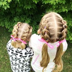 "497 curtidas, 36 comentários - Alicia (@simplystranded) no Instagram: ""Pull through braids into pigtails for both girls today.  hairstyle inspired by @flettemia …"""