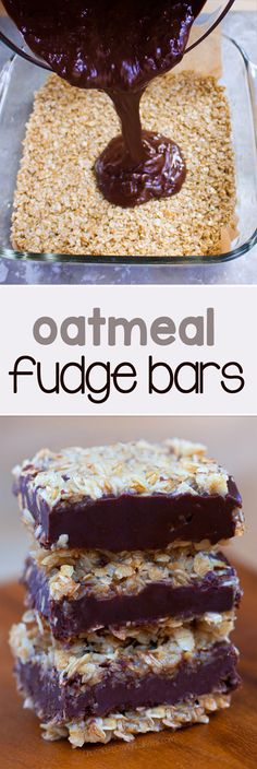 Soft, chocolatey, and ultra fudgy chocolate oatmeal fudge bars - Just like the traditional version from Starbucks, and no baking required! Vegan Sweets, Healthy Sweets, Vegan Desserts, Just Desserts, Dessert Recipes, Vegan Recipes, Healthy Snacks, Healthy Chocolate Desserts, Healthy Eating