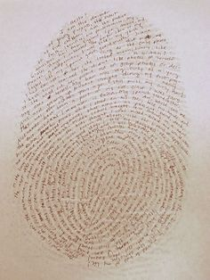 Take fingerprint, blow it up, write about yourself!  Whatever comes to mind!
