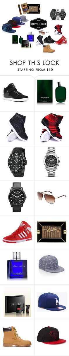 """""""my man got the swag pack as a gift"""" by ad123happy ❤ liked on Polyvore featuring Osiris, Comme des Garçons, Fila, adidas, Jivago, Salvatore Ferragamo, Armani Exchange, adidas Originals, Jack Black and Forever 21"""
