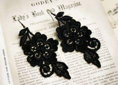 lace earrings ABBEY in black  tinaevarenee on Etsy