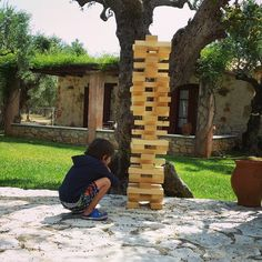 That  tower is really huge! Well done! Jenga Tower, Summer Photos, Photo Credit, Summer Pictures
