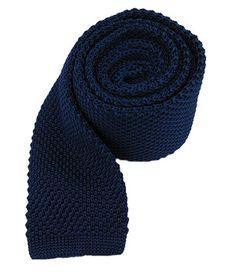 Silk Knit Skinny Tie / Navy / Tie Bar