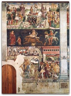 Francesco del Cossa : Allegory of April: Triumph of Venus (Palazzo Schifanoia) フランチェスコ・デル・コッサ Palazzo, Renaissance Kunst, Italian Renaissance, Roman Gods, Occult Art, Web Gallery, European Paintings, The Masterpiece, Art Google
