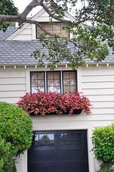 window box, black garage door and window trim