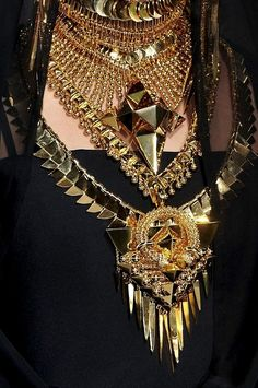 black with gold necklaces
