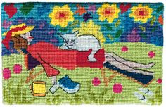 Cat Nap Needlepoint Postcard