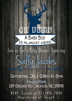 Its a Boy! Baby Shower Invitation, Rustic Baby Shower, Hunter Theme Invite, Antlers, Oh Deer, Baby Boy, Blue and Grey