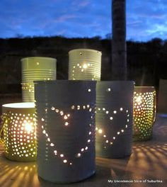 Light up the night with these fantastically up-cycled tin cans.