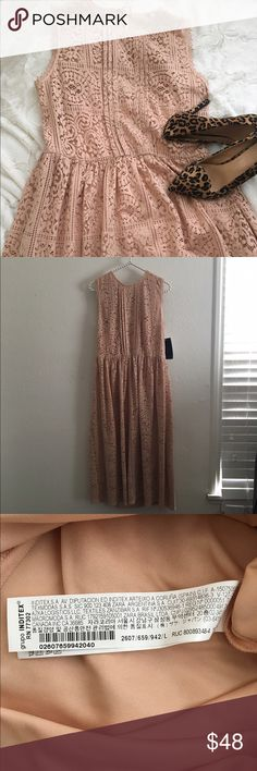Zara pink lace midi dress Very cute lace dress. A light pink or blush pink color. Perfect holiday dress. Has a built in slip. Key hole and tie in the back. Approximately 45 inches long from the shoulders. There is no size tag, but the price tag says L. Armpit to armpit is approximately 17 inches. Waist is approximately 15 inches laying flat and is elastic. Runs small, more a medium (6/8). Never worn.  please no trades. Use the offer button  Zara Dresses Midi