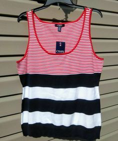 3b7658ac7a995 Chaps Small Sailor Bay Striped Tank Top Red White Navy Blue Patriotic USA