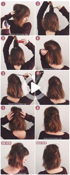 #easyhairstyles Cute Simple Hairstyles, Elegant Hairstyles, Down Hairstyles, Easy Hairstyles, Hairstyle Ideas, Girl Hairstyles, Hair Ideas, Half Up Half Down Hair Tutorial, Half Up Half Down Hair Prom