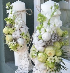 lumanari Wedding Bouquets, Wedding Flowers, Wedding Dresses, Decorative Candles, Baptism Candle, Wedding Planning, Arts And Crafts, Baby Shower, Table Decorations
