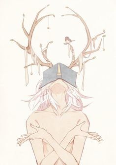 art, fantasy, antlers, soft, boy, anime, white, beautiful, book, and drawing image