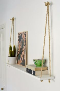 DIY Hacks for Renters - DIY Easy Rope Shelf - Easy Ways to Decorate and Fix Things on Rental Property - Decorate Walls, Cheap Ideas for Making an Apartment, Small Space or Tiny Closet Work For You - Quick Hacks and DIY Projects on A Budget - Step by Step Tutorials and Instructions for Simple Home Decor http://diyjoy.com/diy-hacks-renters