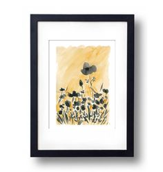 art print Sunny Poppies field Giclee watercolor by TheJoyofColor