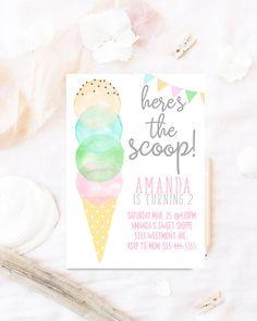 Invitación de cumpleaños de helado helado acuarela invitación