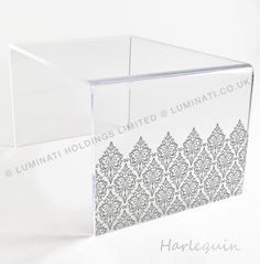 acrylic table with laser etching harlequin design acrylic furniture made in the uk by luminati acrylic furniture uk