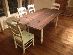Hand Made French Countryside Dining Table With Chairs Painted Annie Sloan Old White