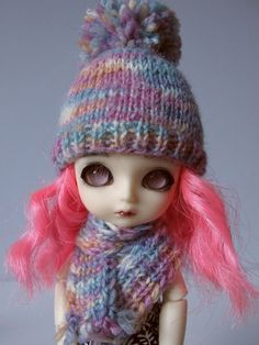 Knitted colorfull set of hat and scarf for lati yellow pukifee monster high and similar size 5'-6' head dolls